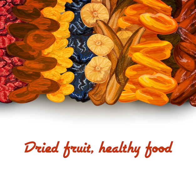Dried fruit background print Free Vector