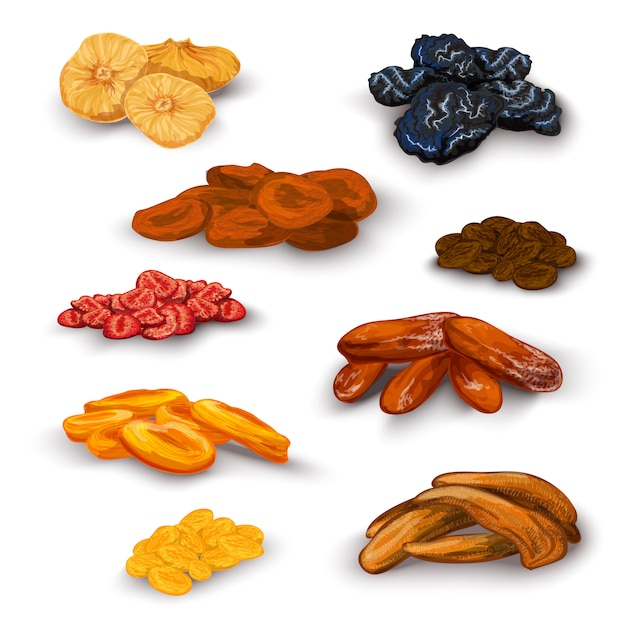 Dried fruit set Free Vector