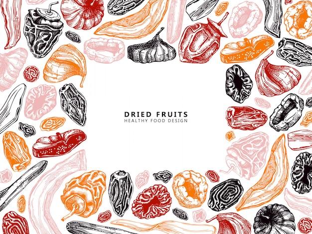 Рамка из сухофруктов и ягод. винтажные обезвоженные фрукты в цветном шаблоне. десерт здорового питания - сушеные манго, дыня, инжир, абрикос, банан, хурма, финики, чернослив, изюм. восточные сладости. Premium векторы
