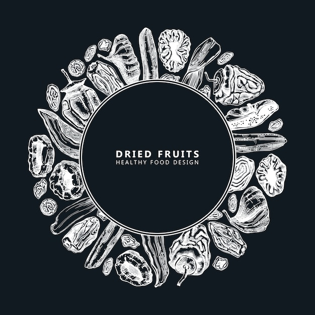 Dried fruits and berries frame  on chalkboard. vintage dehydrated fruits in color template. healthy food dessert - dried mango, melon, fig, apricot, banana, persimmon, dates, prune, raisin. Premium Vector