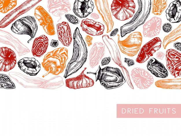 Dried fruits and berries frame . vintage dehydrated fruits in color template. delicious healthy dessert - dried mango, melon, fig, apricot, banana, persimmon, dates, prune, raisin. Premium Vector