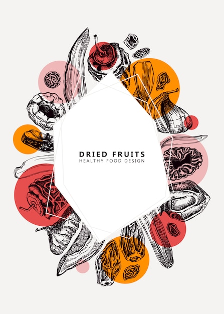 Dried fruits and berries trendy . vintage dehydrated fruits template. healthy food dessert - dried mango, melon, fig, apricot, banana, persimmon, dates, prune, raisin. modern collage background Premium Vector