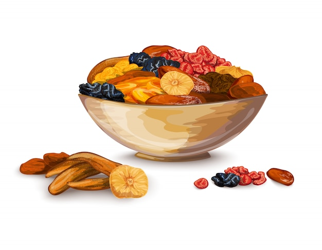 Dried fruits illustration Free Vector