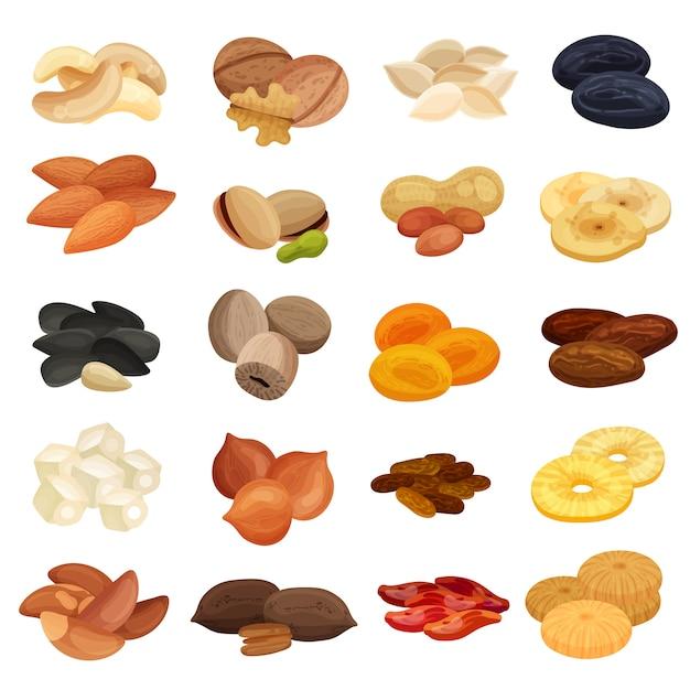 Коллекция орехов сухофруктов Бесплатные векторы