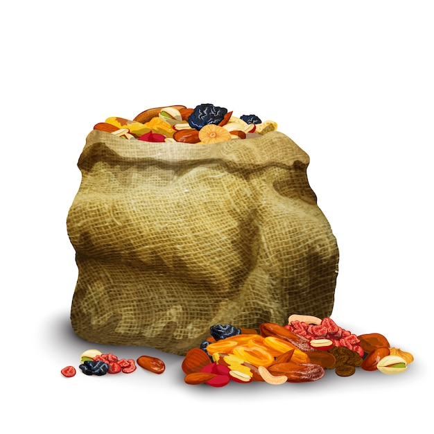 Dried fruits in sack Free Vector