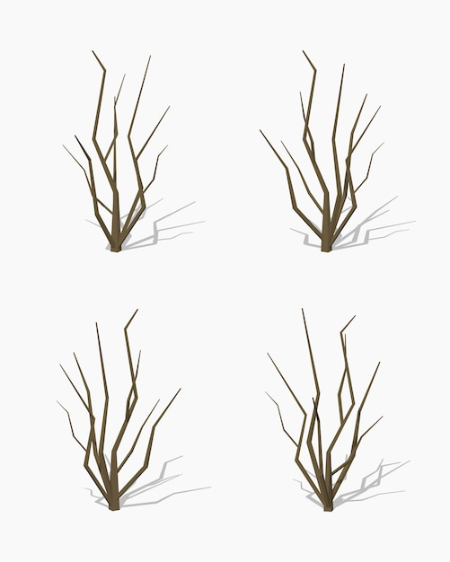 Dried tree. 3d lowpoly isometric vector illustration Premium Vector