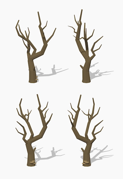 Dried tree. 3d lowpoly isometric vector illustration. Premium Vector