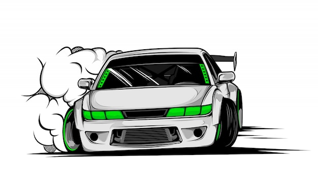 Drift car illustration Premium Vector