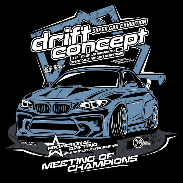 Drift concept, vector car illustration Premium Vector