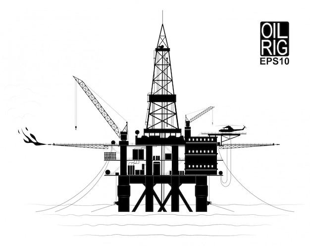 Буровая платформа для добычи нефти или газа со дна океана. черно-белый контур с прорисованными деталями. вид сбоку. Premium векторы