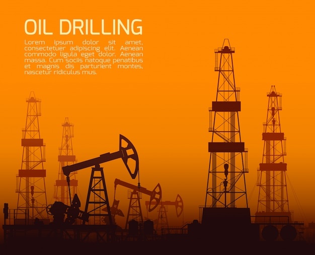 Drilling rigs and oil pumps at sunset Premium Vector