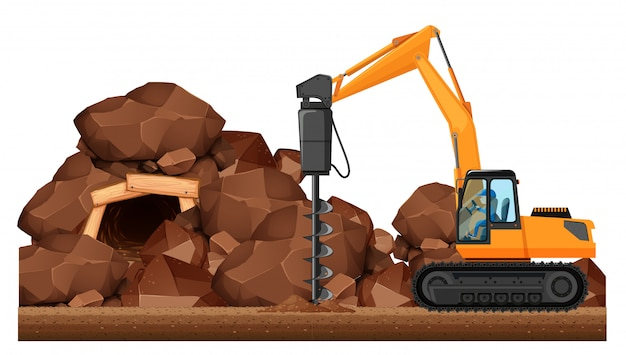 鉱山で働く掘削用トラクター 無料ベクター