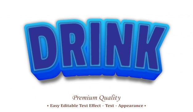 Drink 3d editable text style effect Premium Vector