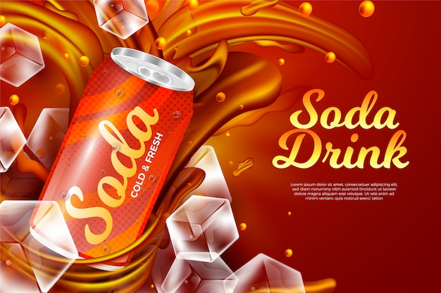 Drink ad template for carbonated drink Premium Vector