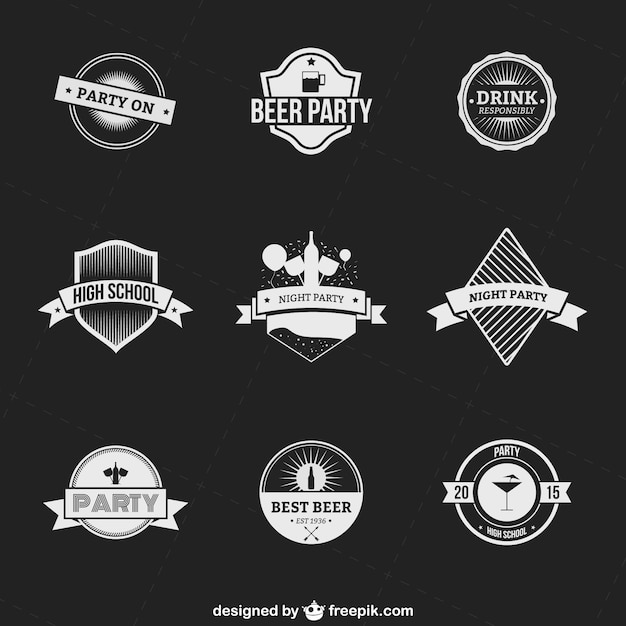 Drink and party badges pack