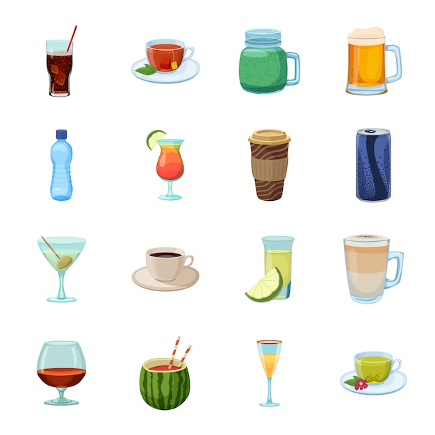 Drink cartoon icon set, cocktail and alcohol. Premium Vector