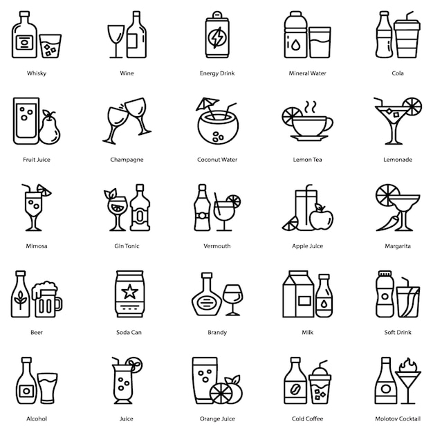 Drink and cocktail icons pack Premium Vector