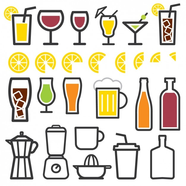Drink elements icons Free Vector