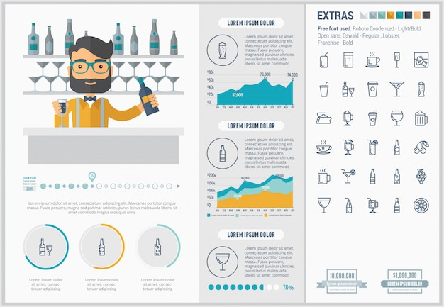 Drink flat design infographic template and icons set Premium Vector