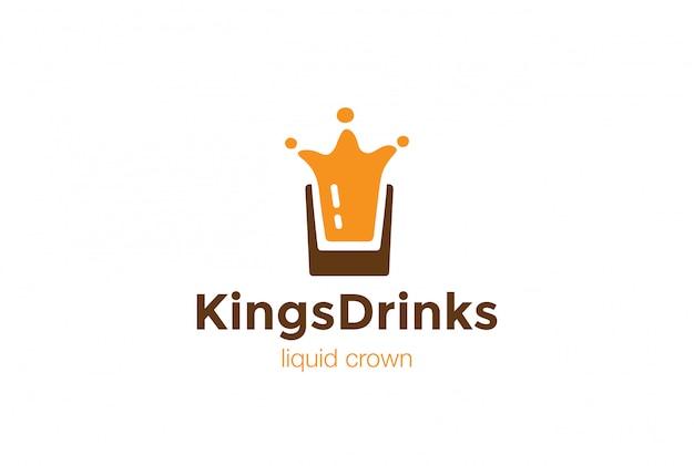 クラウンのロゴデザインテンプレートとしてグラススプラッシュを飲みます。液体アルコールロゴタイプコンセプトアイコン 無料ベクター