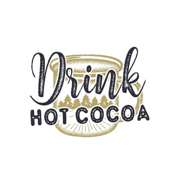 ホットココアのイラストを飲む Premiumベクター
