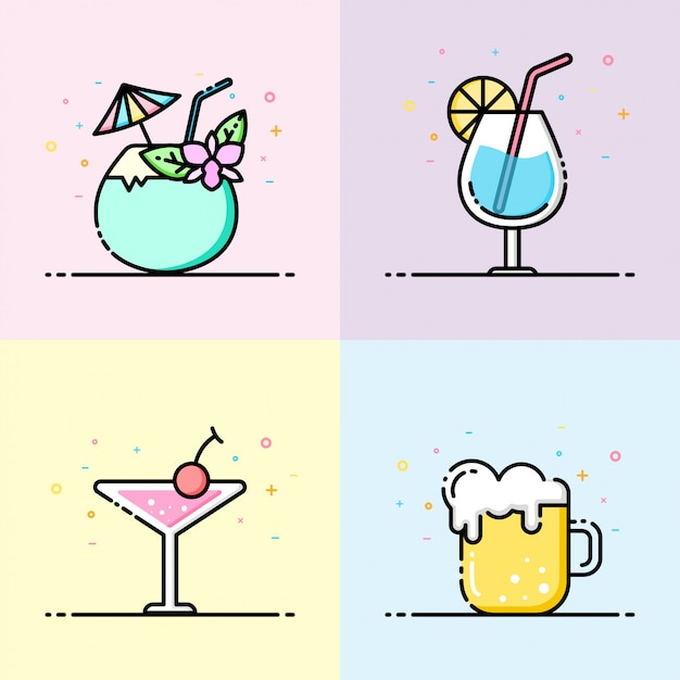 Drink icon collection in pastel color Premium Vector