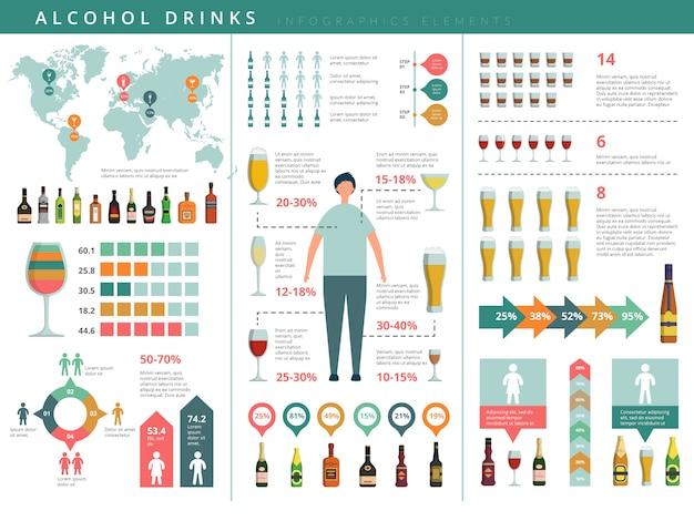 Пейте инфографику. стеклянные и алкогольные бутылки Premium векторы