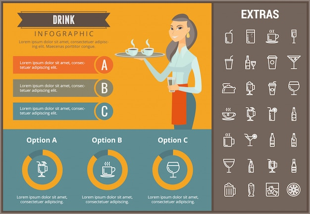 Drink infographic template, elements and icons Premium Vector