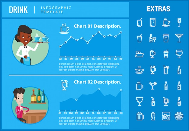 Drink infographic template, elements and icons. Premium Vector