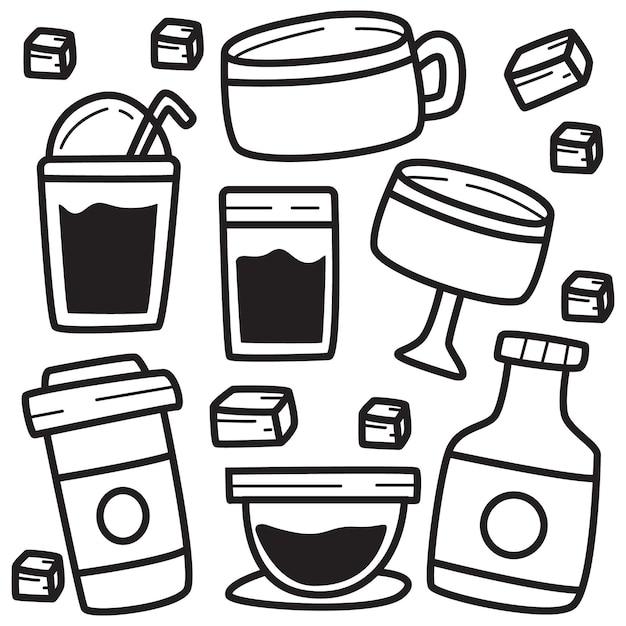 Напиток линии каракули иллюстрации Premium векторы