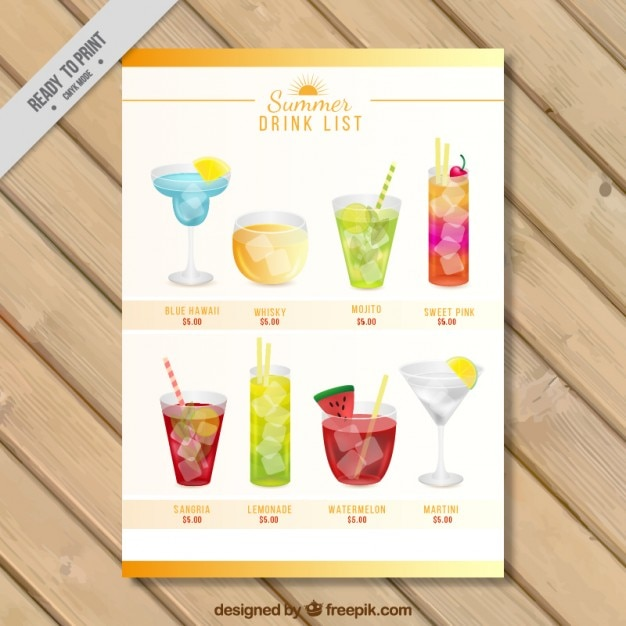 Drink list with variety of watercolor\ cocktails