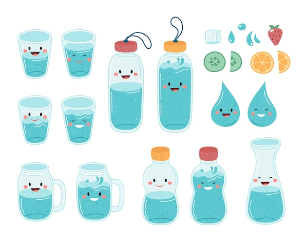 Drink more water. cute bottles and glasses collection Premium Vector