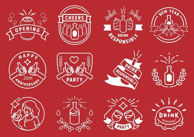 Drink responsibly party badge line design Premium Vector