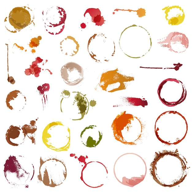 Drink stains vector staining circles of coffee cup or wine glass illustration set Premium Vector