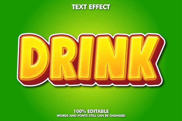 음료 텍스트 효과, 음료 제품에 대한 신선한 그래픽 스타일 무료 벡터
