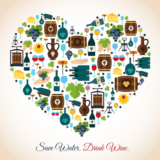 Drink wine save water decorative icons heart\ vector illustration
