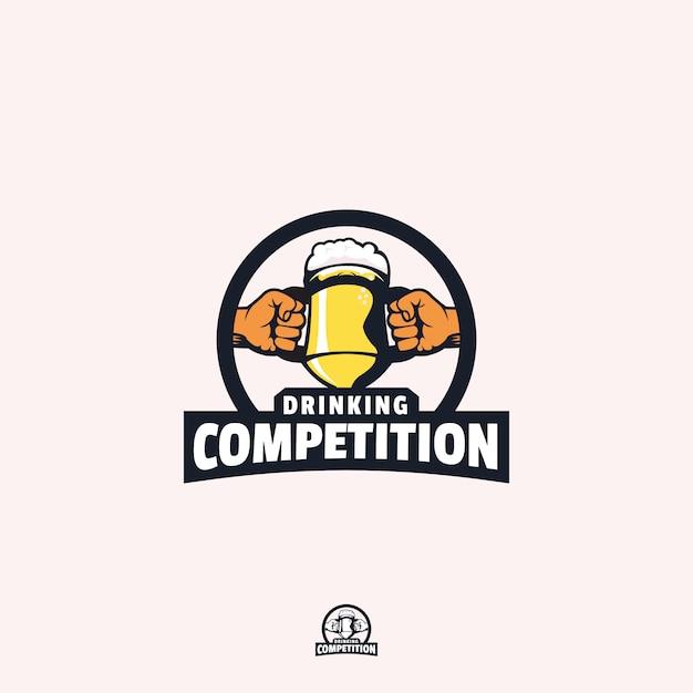 Drinking competition logo design Premium Vector