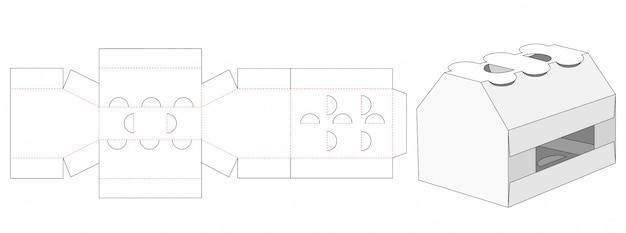 Drinking container packaging die cut template Premium Vector