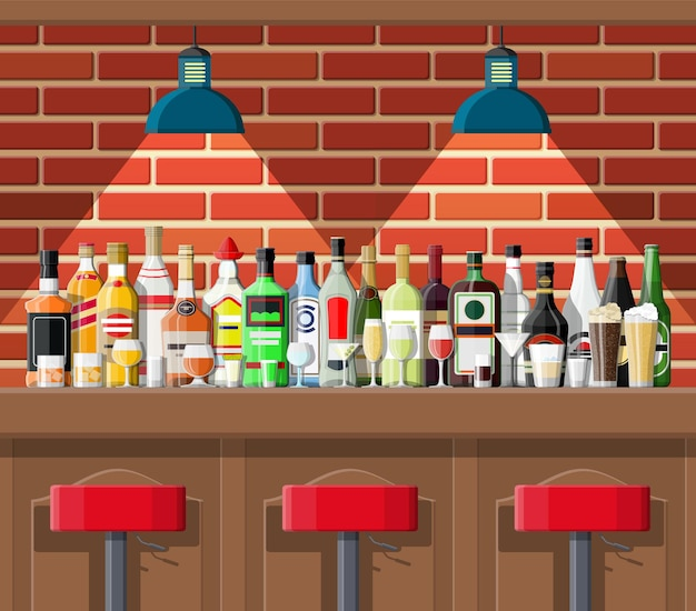酒場。パブ、カフェ、バーのインテリア Premiumベクター
