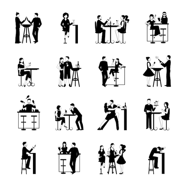 Drinking people set black and white Free Vector