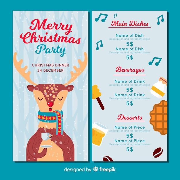 Drinking reindeer menu template Free Vector