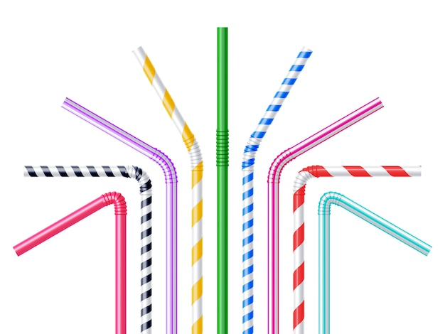 Drinking straws realistic illustration Free Vector