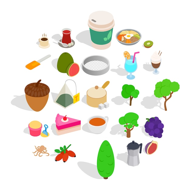 Drinking tea icons set, isometric style Premium Vector