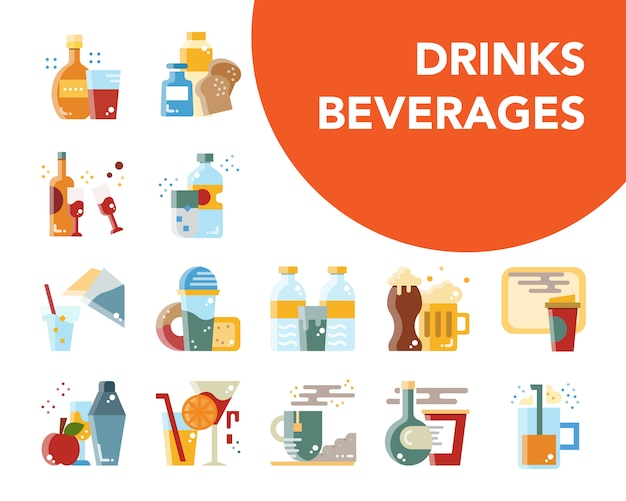 Drinks and beverages cartoon flat design Premium Vector