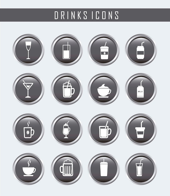Drinks buttons over gray background vector illustration Premium Vector