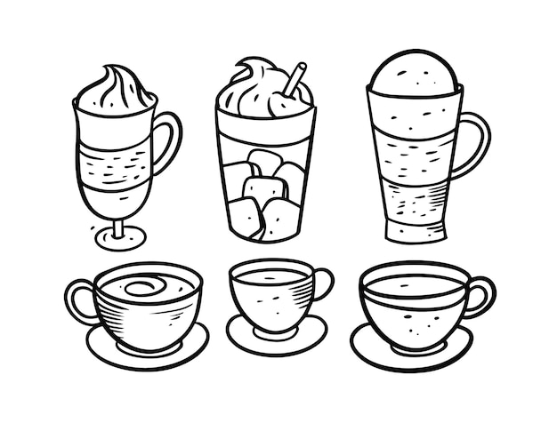 Drinks and coffee set isolated on white Premium Vector