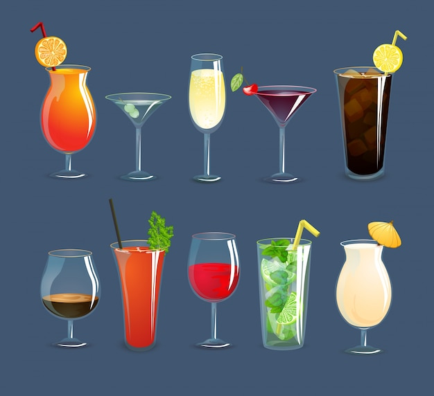 Drinks glasses set Free Vector
