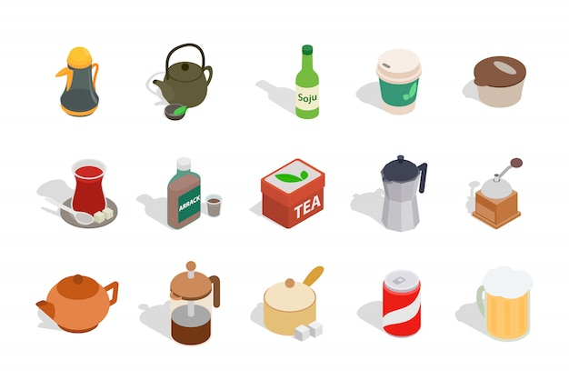 Drinks icon set on white background Premium Vector