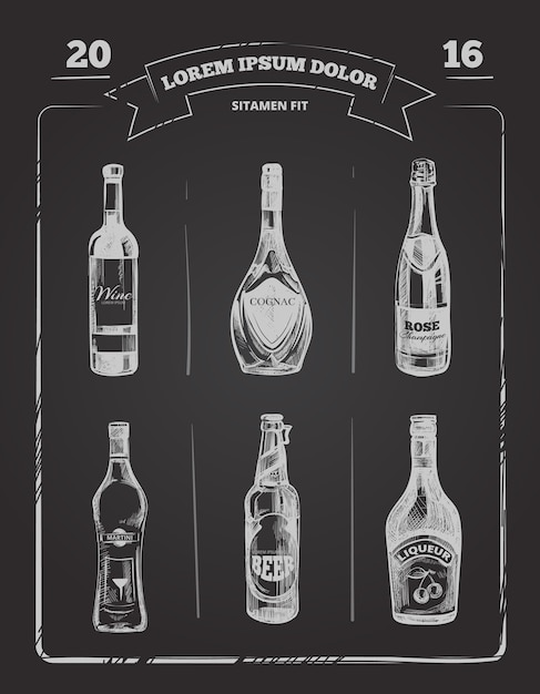 Drinks menu on chalkboard in hand drawn style Premium Vector
