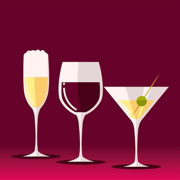 Пьет вино, шампанское и мартини, алкоголь Premium векторы